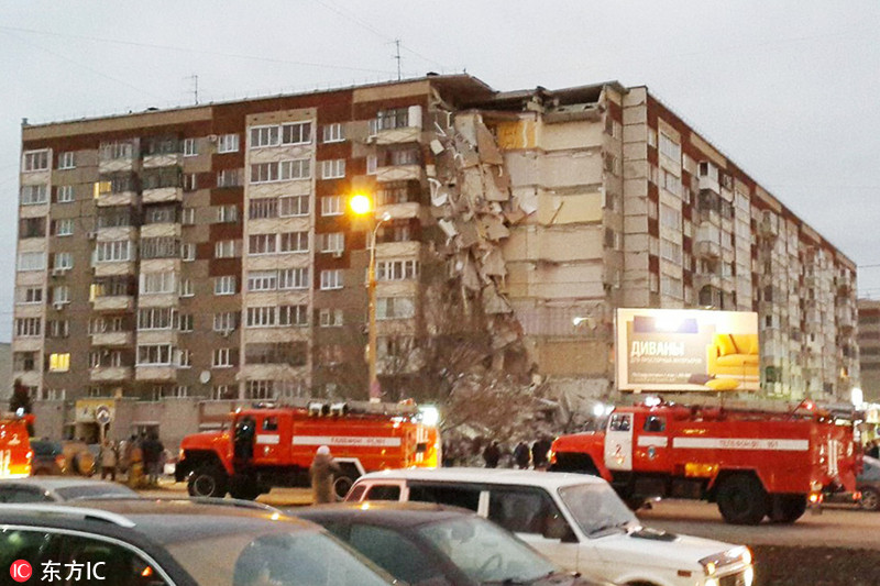 俄一栋9层民宅发生坍塌 或由家用燃气爆炸引起