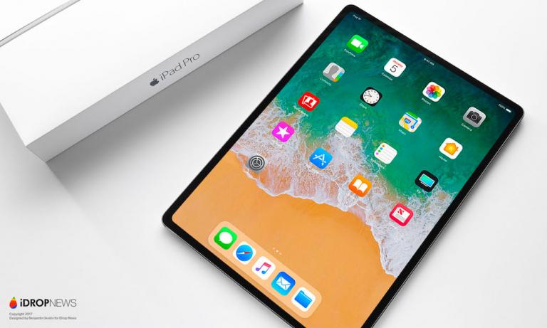 2018款iPad Pro概念机渲染图:全面屏面容识别