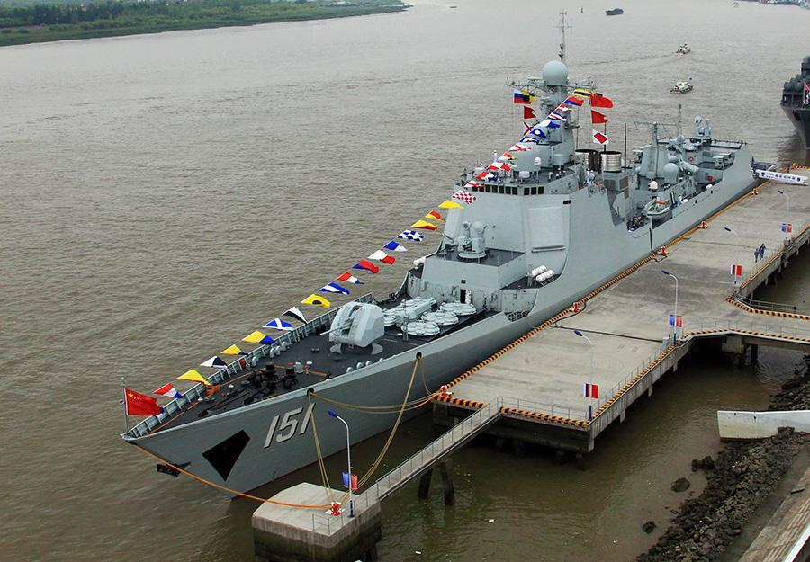 中华神盾舰参加东盟成立50周年国际舰队检阅
