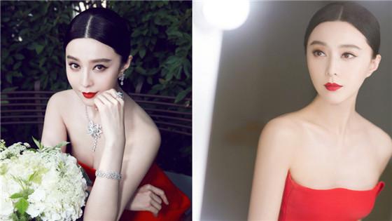 范冰冰抹胸红裙秀香肩