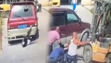 女子被卷车底叉车司机救援