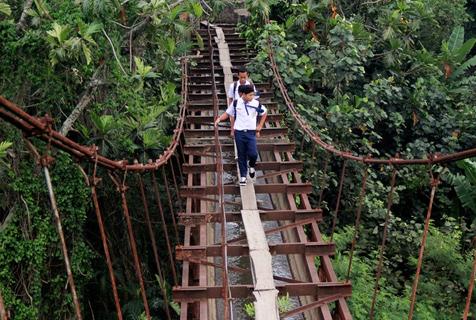 印尼学生惊险上学路 超窄木吊桥穿丛林