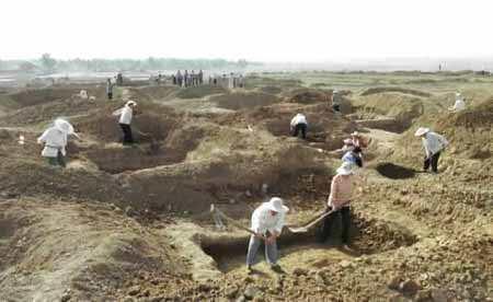 河南周口发掘百座汉墓群 出土有大量陶器