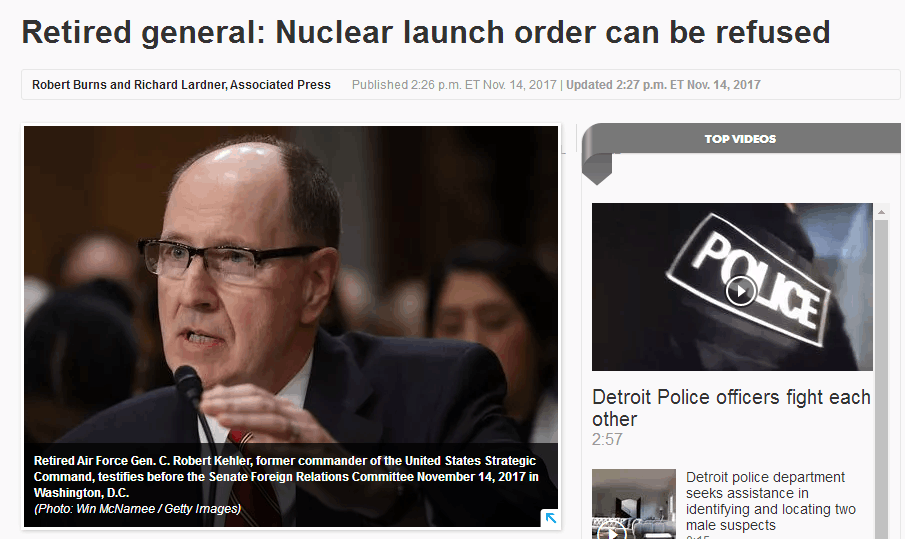 针对特朗普?美退休将领:若总统核弹发射命令不合法,可拒绝