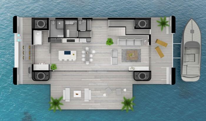 建筑师设计出水中漂浮房屋 完全脱离电网
