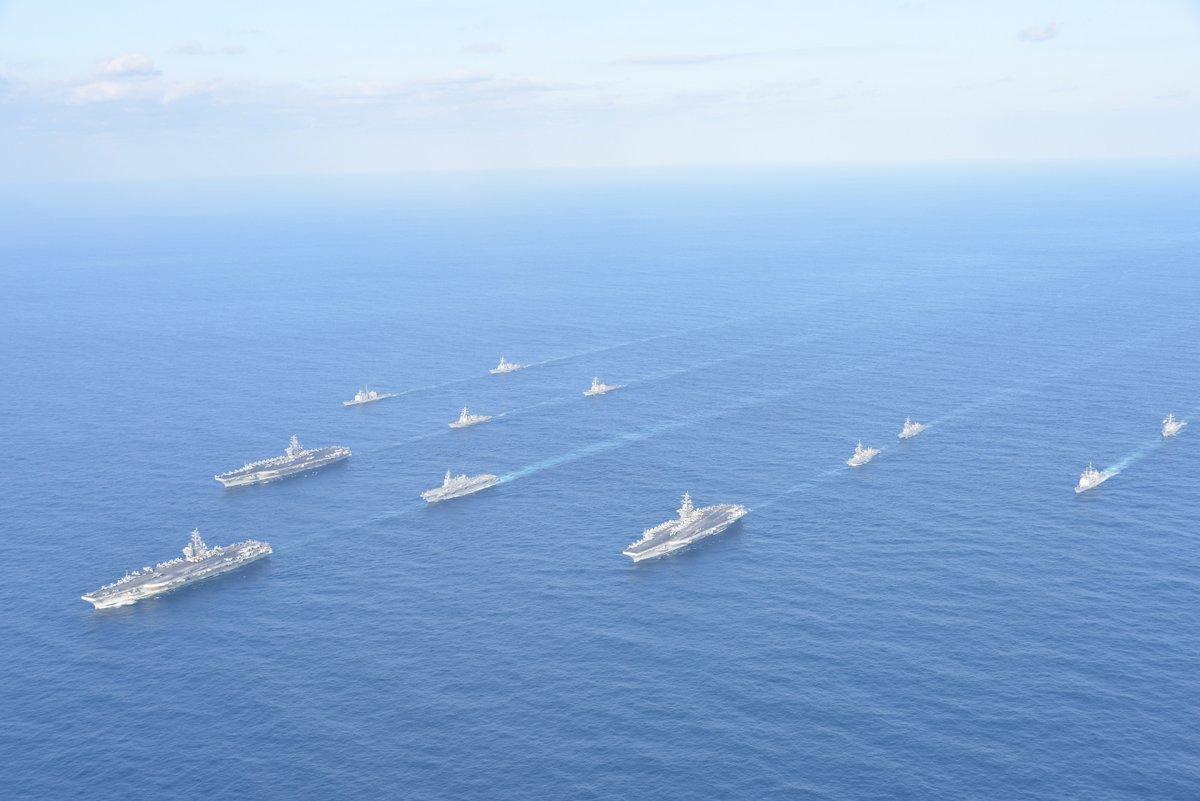 美军3艘航母时隔10年再次齐聚亚太 意欲何为?
