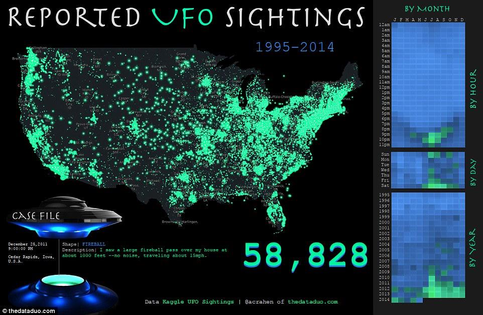 一张图告诉你美国哪些地方频现UFO