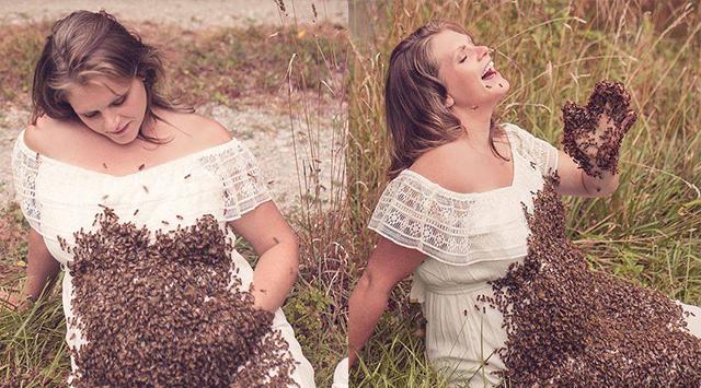 美国孕妇与2万蜜蜂拍孕照 结果胎死腹中