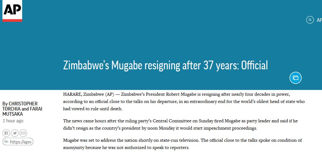 快讯!津巴布韦总统穆加贝宣布辞职