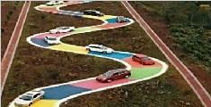 重庆彩色s型公路开放 网友:这比考科目二难多了