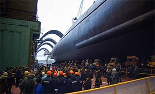 俄最新北风之神A战略核潜艇下水