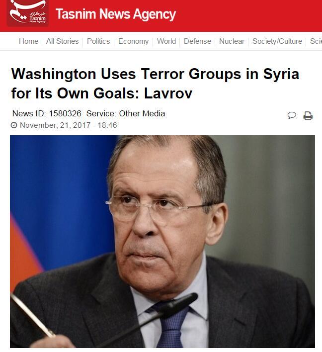 俄罗斯外长:美国在叙利亚利用恐怖组织来实现自身利益