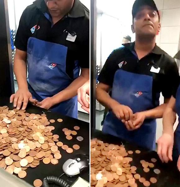 美国一名男子不满披萨店服务 使用1200多个2分硬币买单