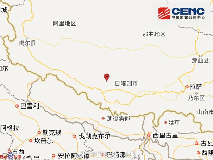 西藏阿里地区措勤县发生3.6级地震 震源深度8千米