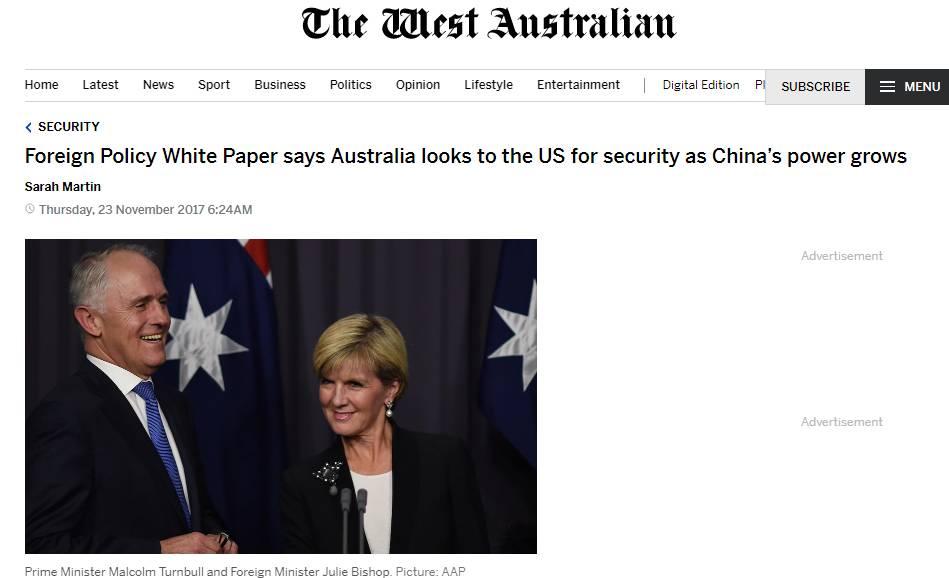 澳十年首发外交白皮书:民主国家快来钳制中国!