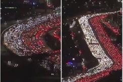 堪比春运 美公路感恩节现红白灯流奇景