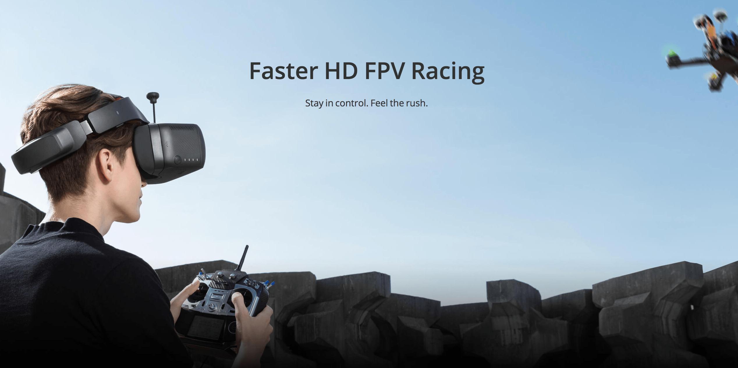 DJI发布飞行眼镜竞速版 开启高清FPV竞速时代