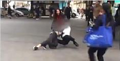 男子殴打女子被路人暴揍