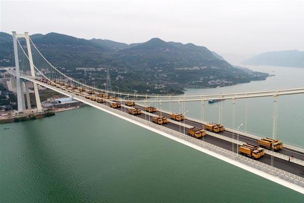 重庆万州驸马长江大桥完成静动载试验