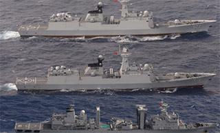 日称中国海军3艘军舰逆时针绕台