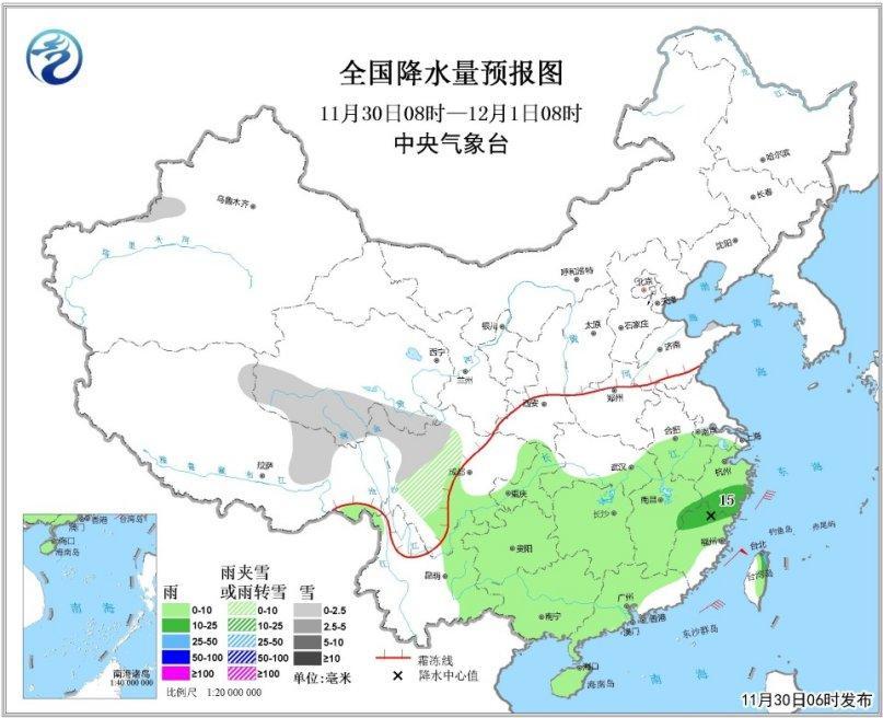 江南华南地区降雨降温 华北中南部等地明起将有霾