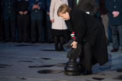 默克尔出席圣诞树迎接仪式 获赠大棋子