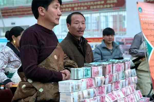 青海一合作社分红 藏族牧民用袋装现金
