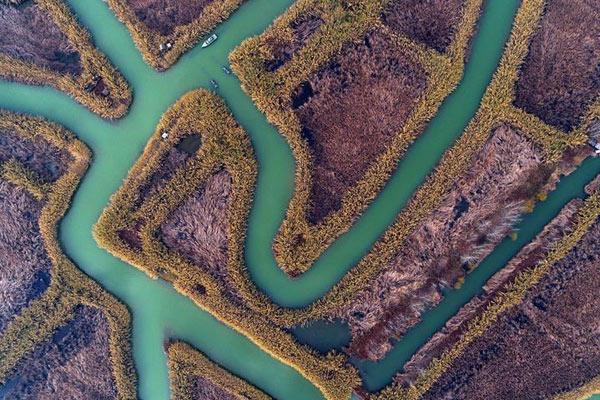 航拍冬日洪泽湖湿地
