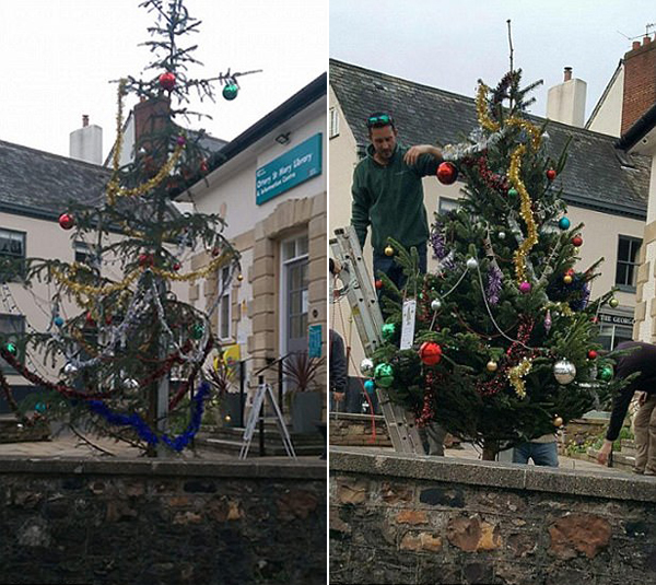 英城镇圣诞树太寒酸引发居民吐槽被更换