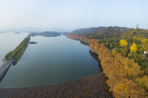 杭州已入冬 西湖染五色