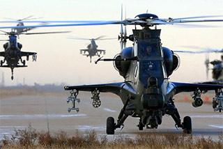 直10武装直升机实弹射击演练