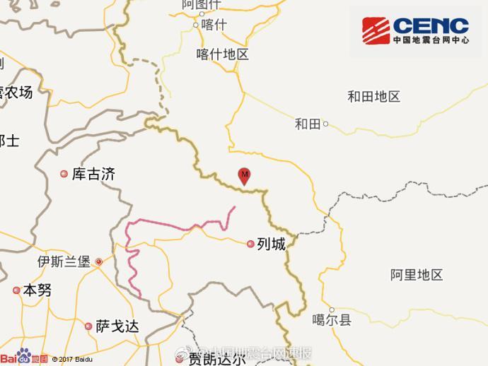 新疆喀什地区叶城县附近发生5.2级地震