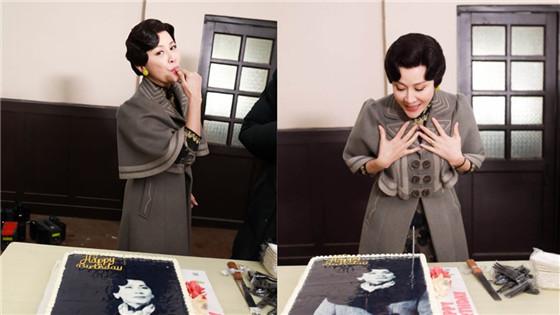 刘嘉玲剧组过生日 见蛋糕超开心秒变星星眼