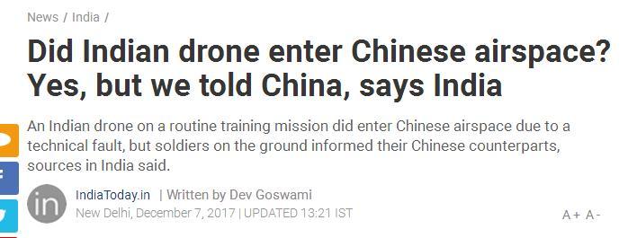 印度国防部承认其无人机误入中国境内 称系技术原因...