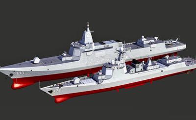 055舰比052D战舰体型大了好多