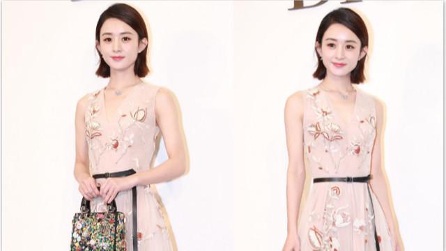 赵丽颖穿粉色长裙清新甜美 气场强大