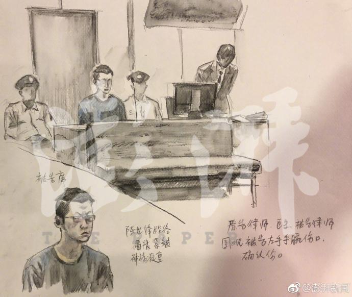 江歌案庭审现场速写 法医:江歌气管被割后无力躲闪