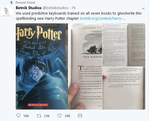 《哈利·波特》书迷读上新故事 作者变为AI机器人
