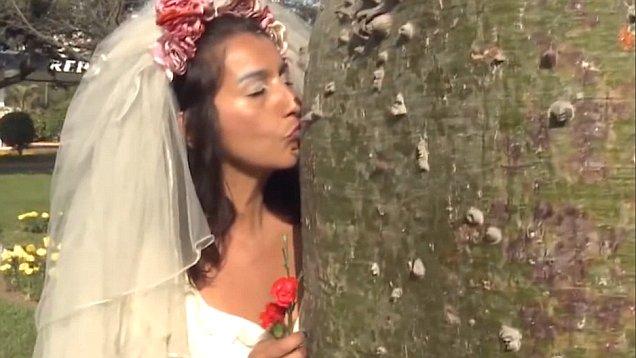 """秘鲁众新娘与大树""""结婚"""" 承诺一生一世守护它"""