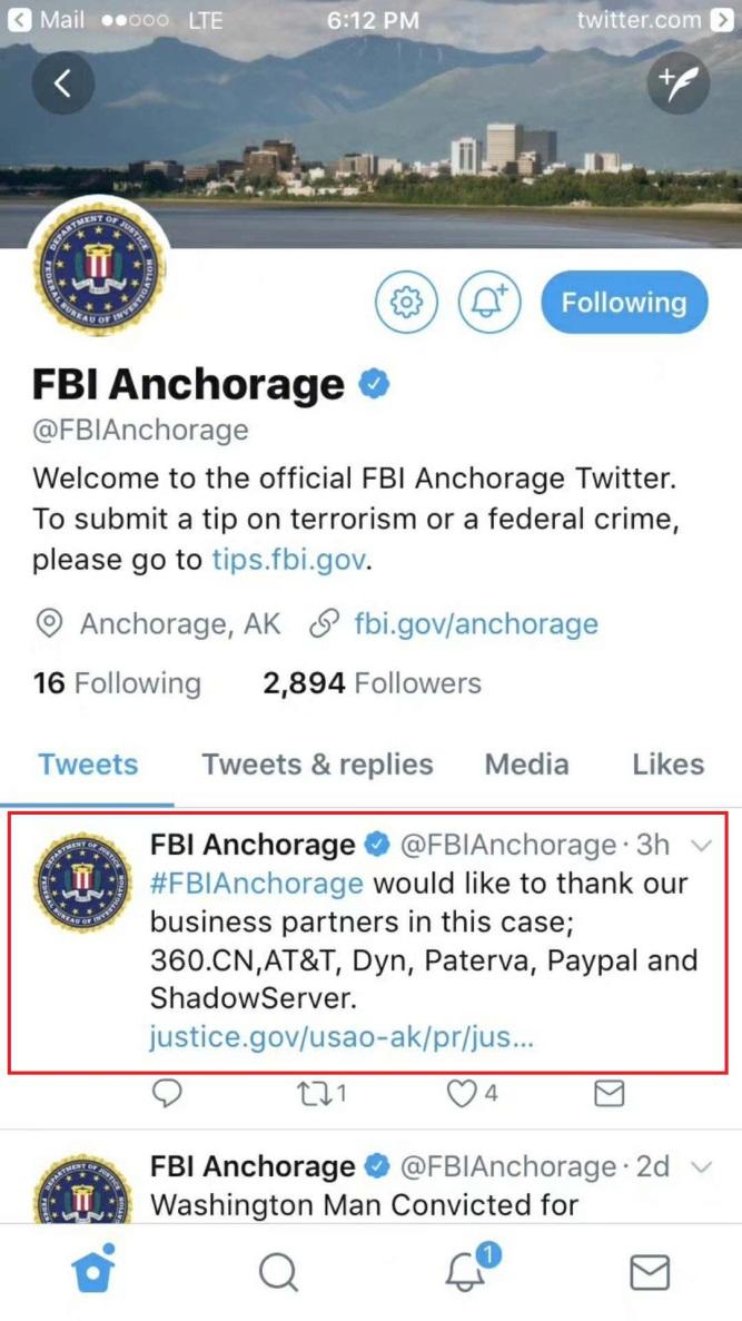 """""""美国断网""""案件告破,FBI致谢中国安全企业"""