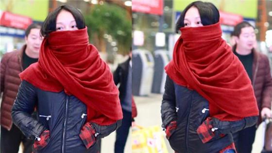 周迅红色围巾包裹严实