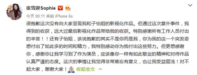 张雪迎微博致歉章子怡:这次让我受益匪浅