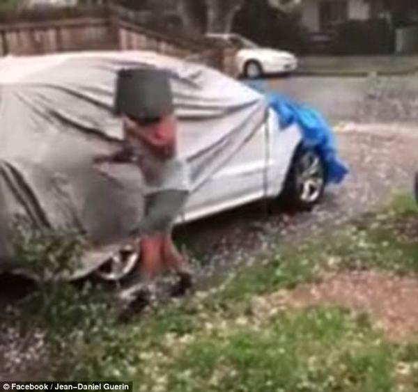 澳男子头戴铁桶冒着冰雹给汽车套保护罩