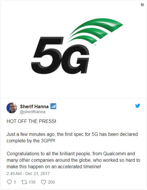 "3GPP:首份""真·5G""标准细则已正式完成"