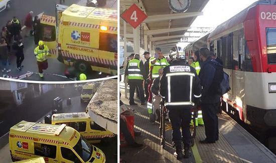 西班牙首都发生列车碰撞事故 45人受伤4人重伤
