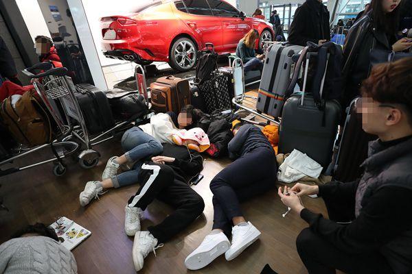 韩国浓雾影响300多航班 乘客席地而睡