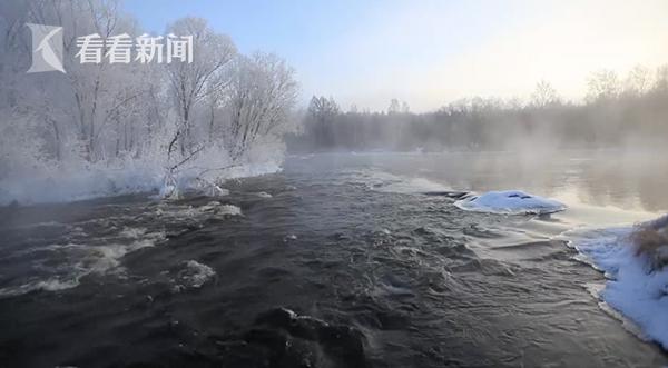 黑河呈现雾凇奇观宛如仙境