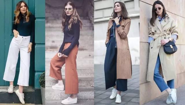 阔腿裤+运动鞋=时髦精的标配!