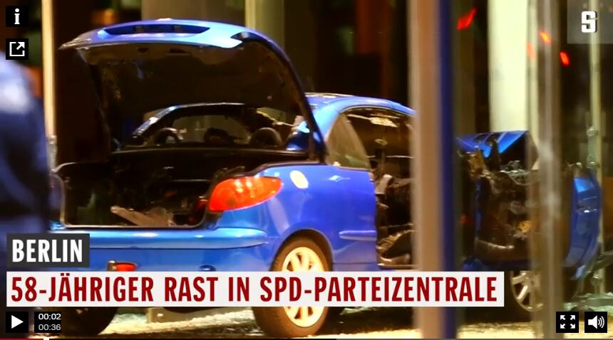 圣诞惊魂!德国柏林一男子驾车撞向社民党总部大楼 声称企图自杀
