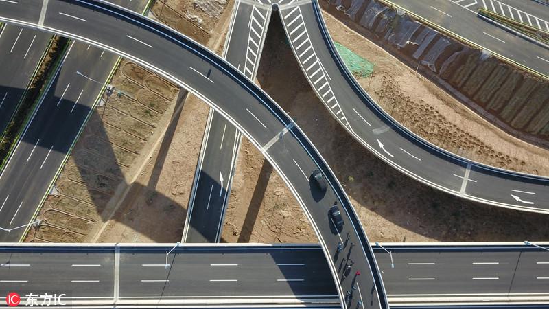 航拍:世界最大规模八车道公路隧道群即将在济南通车